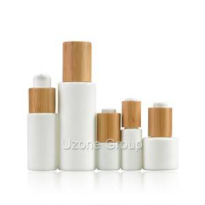 Opal White Glass Bottle With Bamboo/Rubber Wooden Cap/Dropper/Pump