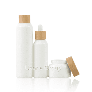 Opal White Glass Bottle And Cream Jar