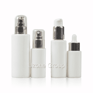 Opal White Glass Bottle With Pump/Sprayer And Dropper