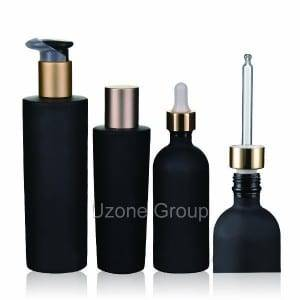 Dark Violet Glass Bottle With Pump/Dropper/Cap
