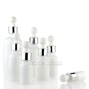 Opal White Glass Essential Oil Bottle With Bulb Top Dropper