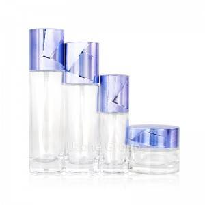 High end cylinder skin care glass packaging set