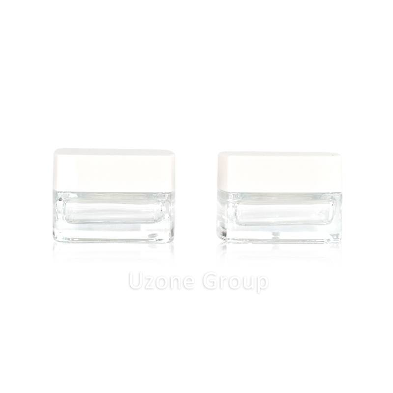 50ml square clear glass cream jar