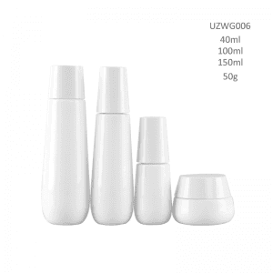 Opal White Glass Bottle And Cream Jar With Trapezium Lidopal