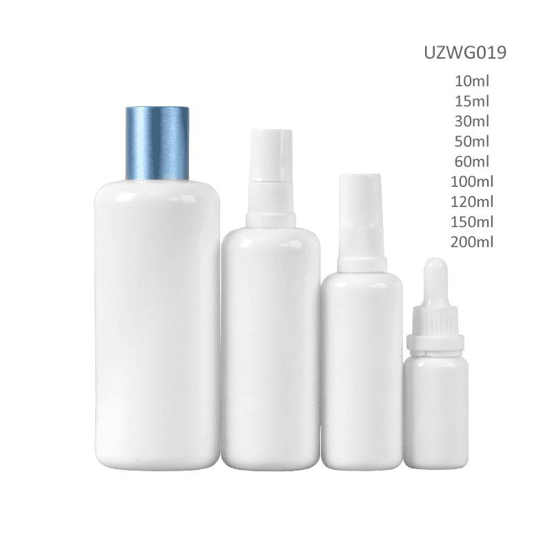 Opal White Glass Bottle With Dropper/Sprayer/Blue Lid