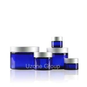Cobalt Blue Glass Jar With Silver Aluminum Cap