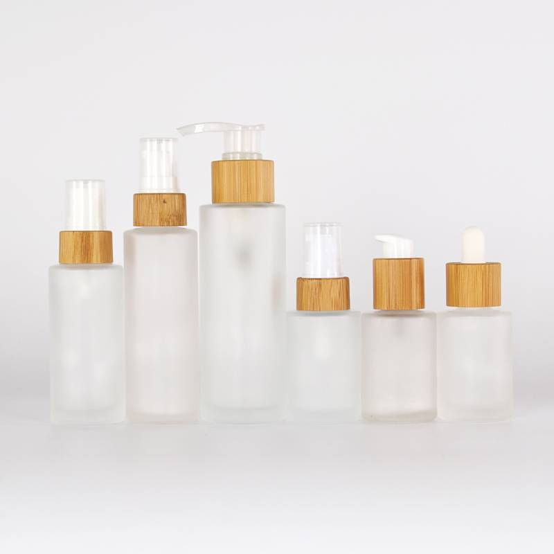 Bamboo Lid Frosted Glass Lotion Bottle