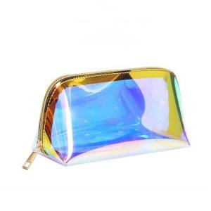 Hot Sales TPU Holographic Clear Clutch Pouch Makeup Bag Women Hologram Transparent Small Waterproof Cosmetic Toiletry Bag