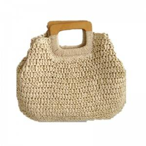 Fashion beach tote bag simple straw woman handbag with wood handle