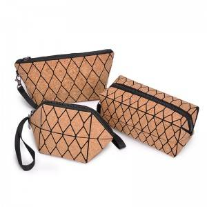 Eco Friendly Natural Cork Softwood Zipper Pouch Handbag Clutch Purse Makeup Organizer Toiletry Bag