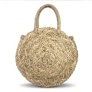 Trendy hand woven round straw bag sea grass straw handbag