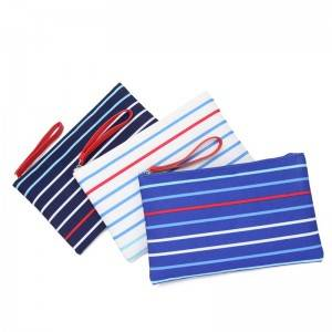 fashion striped makeup airline pouch nylon bag for women