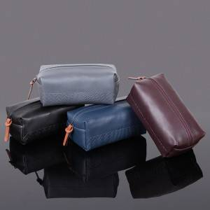 Woven Pattern Pu Leather Cosmetic Bag Make Up Bag Custom Color OEM factory