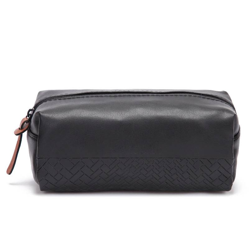 Woven Pattern Pu Leather Cosmetic Bag Make Up Bag Custom Color OEM factory Featured Image