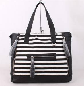 Fashion women blank canvas handbag tote bag with leather handle