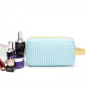 Wholesale Small Grid Cosmetic Bag Airline Gift Pouch for Makeup OEM factory