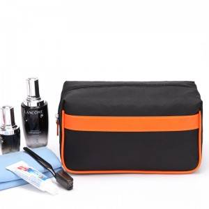 Cosmetic bag ladies travel square makeup brushes with Contrast color PU leather piping OEM factoryosmetic bag ladies travel square makeup brushes with Contrast color