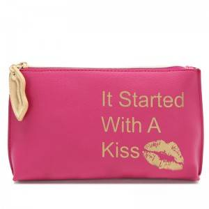 Women makeup purse hard pouch pu lip shape zip puller gold stamping logo cosmetic bag