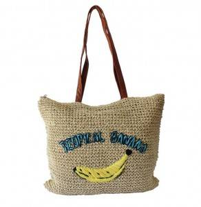New Woven Banana Embroidery straw tote bag Shoulder Summer Beach Straw Bag with shoulder strap