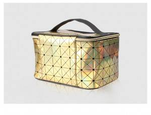 Iridescent Holographic Makeup Bag PU diamond pattern beautician portable zipper travel cosmetic vanity bag