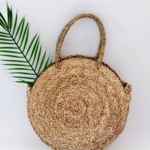 hand made round shoulder sea grass handbag summer beach bag