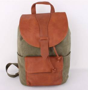 Wholesale top quality Canvas school bags trendy backpack outdoor adventure laptop backpack leather backpacks