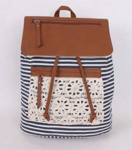 new black and white stripe classic pu leather zipper canvas backpack