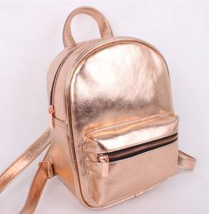Metallic Rose Gold PU Shiny Mini women Backpack custom color or design