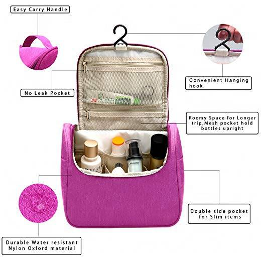 Wholesale Portable Pink Cosmetic Handbag Hotel Bathroom Hanging Travel Toiletry Bag Travel Case