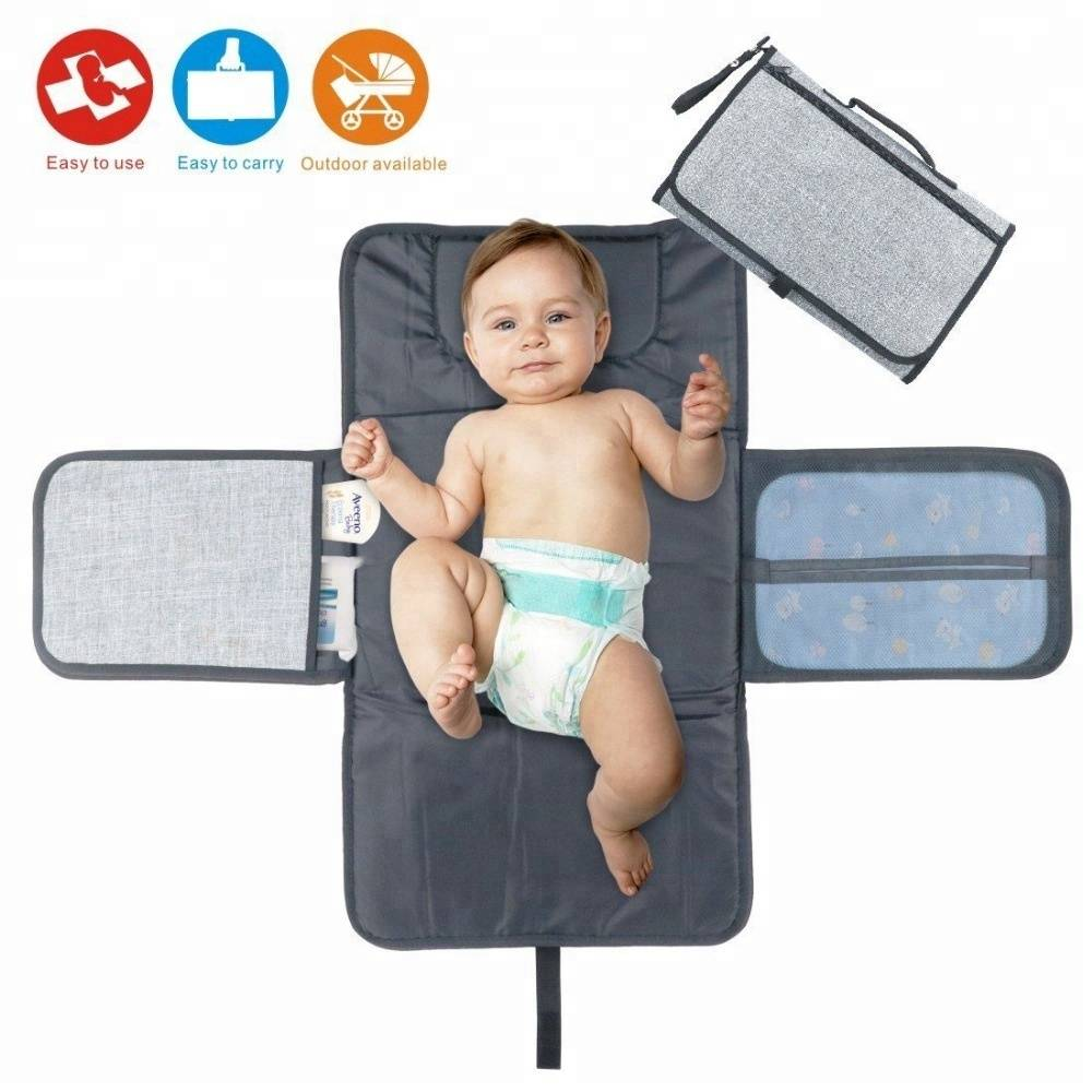Portable Home Travel Outside Changer Mat Infants Baby Diaper Changing Pad with Head Cushion and Pockets