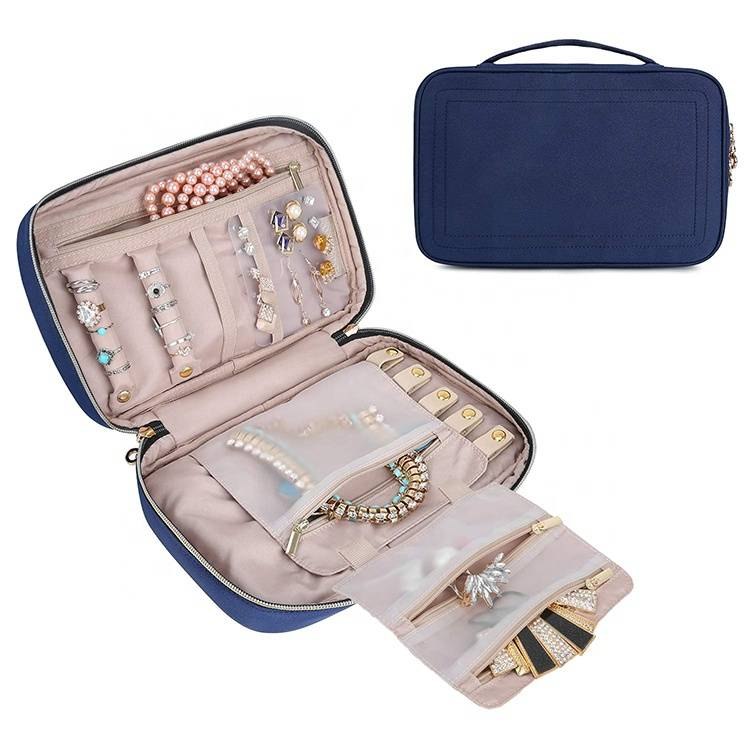 China Suppliers Waterproof Travel Jewelry Rolls Organizer Jewelry Storage Case  for Earrings / Necklaces / Ring