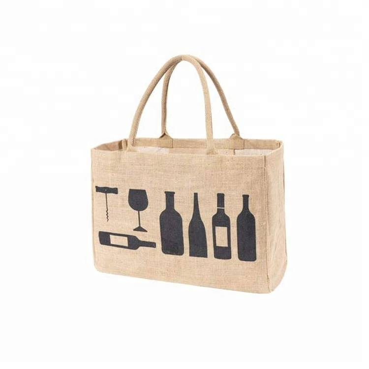 Hot selling  foldable jute clutch shopping bag printed with handles reusable grocery