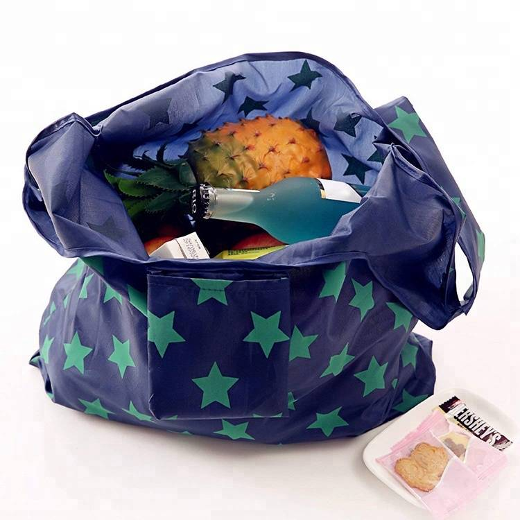 Lightweight Eco-friendly Washable Durable Grocery Tote Bag Reusable RPET Foldable Shopping Bag