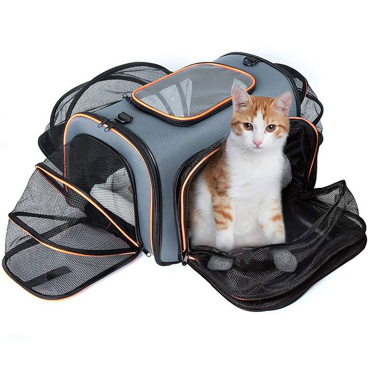 Airline approved expandable foldable sleep bag and pet carrier bag for dog cat