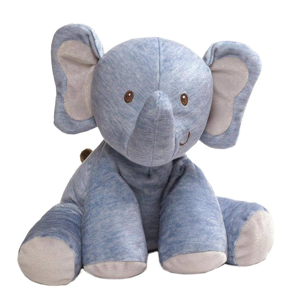 oem odm blue color plush toy sitting stuffed animal toy elephant for baby