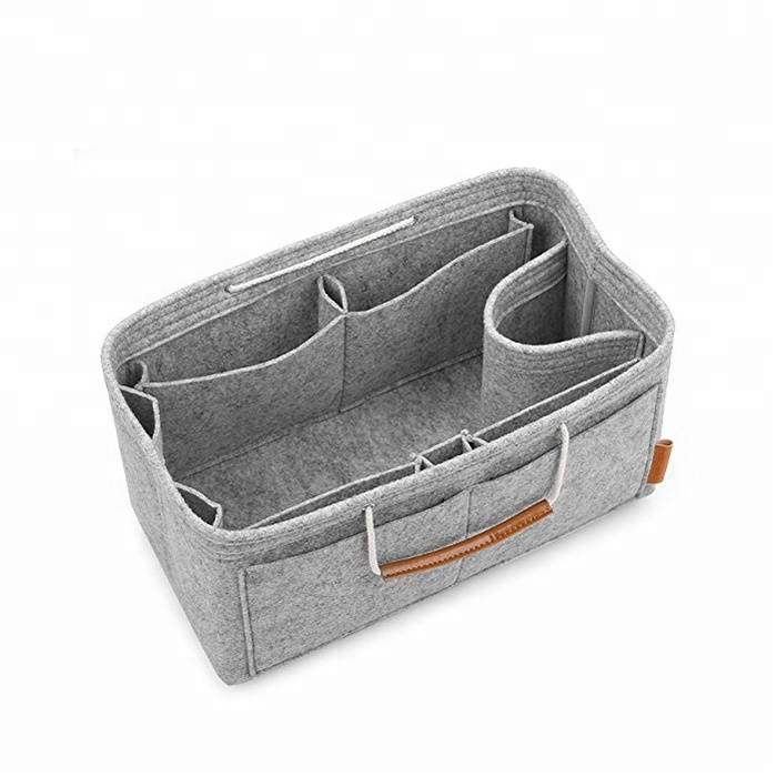 Promotion Eco-Friendly Felt purse bag insert organizer makeup toiletry felt cosmetic bag