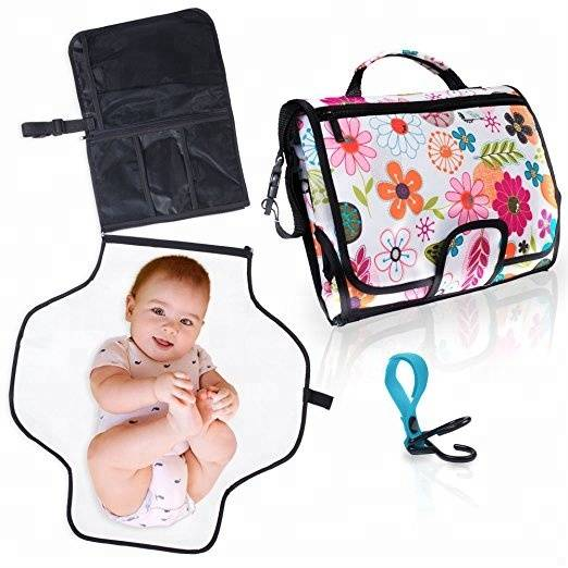 Portable Baby Diaper Changing Mat Station with Clutch Bag Waterproof Mat & Pockets