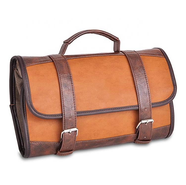 V-FOX Great Gift Travel Accessories Bag Luxury Hanging PU leather Travel Toiletry Bag for Men