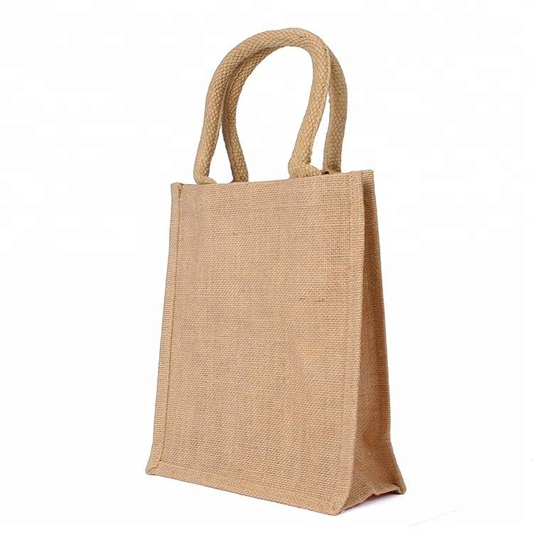Good quality custom environmental print handbag reusable jute tote shopping bag