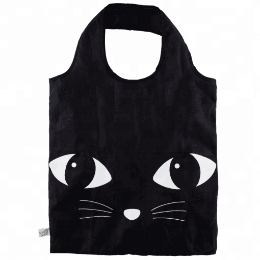 2018 new design Customized cute Black Cat Reusable Foldable polyester Shopping Bag