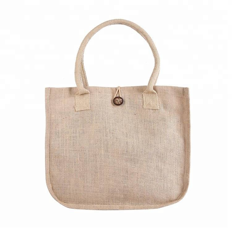 Eco friendly custom printed jute recycling tote bags with cotton padded handle