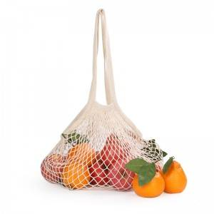 eco friendly reusable produce organic 100% cotton fruit net mesh shopping bag