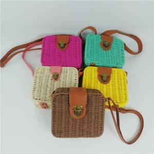 Ladies Lovely Candy Color Square Rattan Bag Women rivet Weave Straw Bags Shoulder & Crossbody Bags