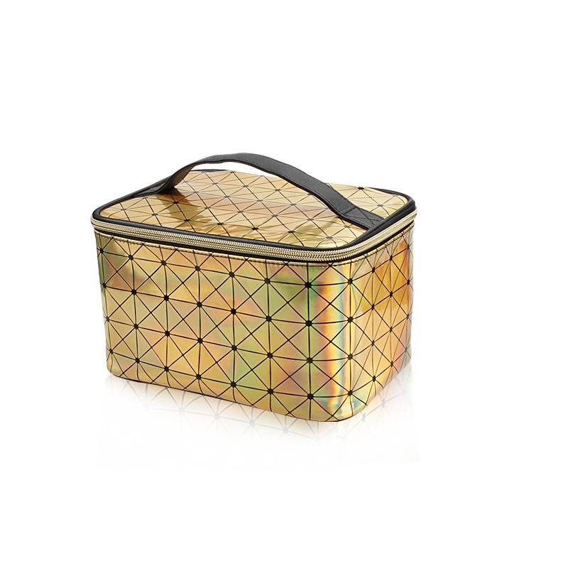 Iridescent Holographic Makeup Bag PU diamond pattern beautician portable zipper travel cosmetic vanity bag Featured Image