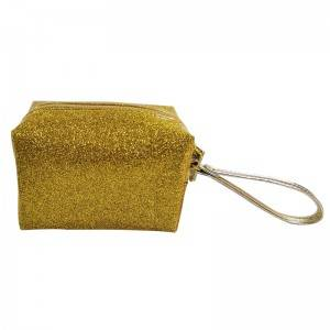 Fashion Candy Color PVC Zipper Wrist-strap Glitter Jelly Cosmetic Bags