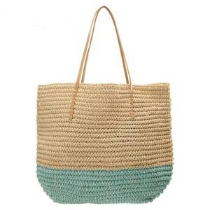 Summer Straw Tote Bag with Polyester Lining Handmade Crocheted