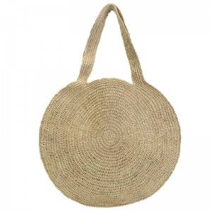 Round Straw raffia Beach Bag Vintage Handmade Woven Shoulder Bag Raffia circle Rattan bags