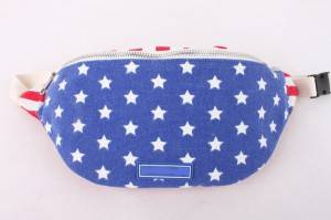 USA flag printed running waist bag canvas fanny pack wholesale