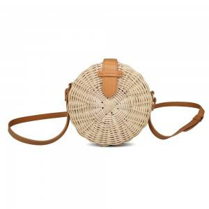 Women Round Straw Bag Beach wicker handbag Handwoven Rattan Bag with Shoulder Straps