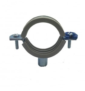 Pipe Clamp With Gray Rubber & Plastic Clip